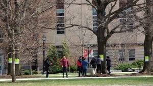 Students tagging oaks in front of Mann Library