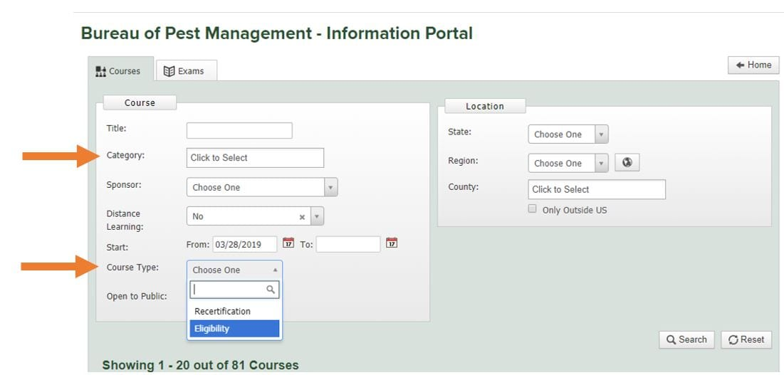 screenshot of NYSPAD courses search