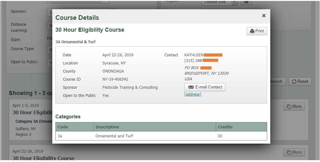 screenshot of NYSPAD course details for an example course