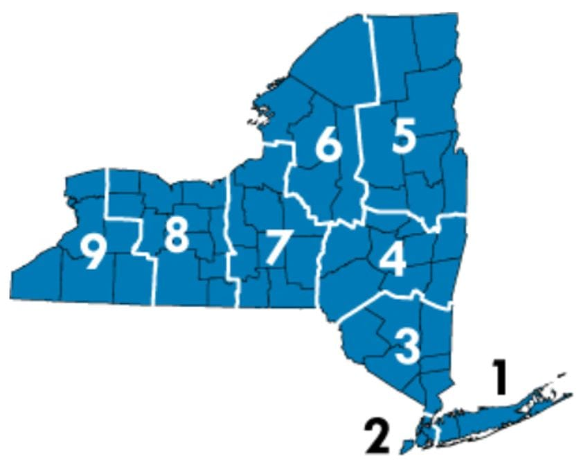 map of NY state labeled with zone numbers