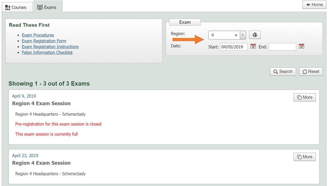 screenshot of NYSPAD exam details