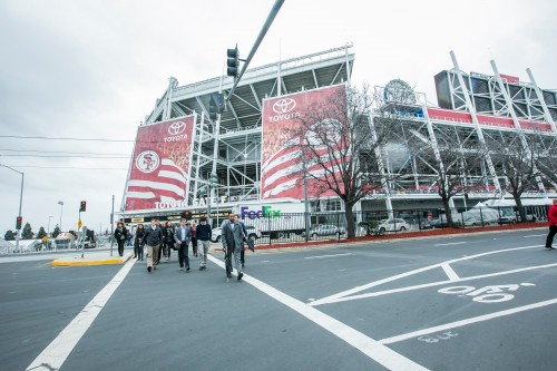 Baker students outside Levi Stadium on tour with Related