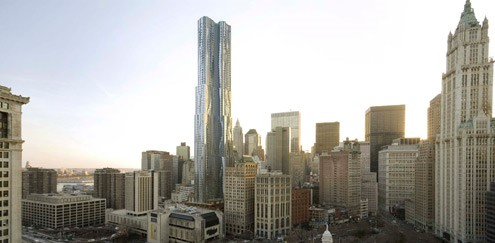 New York by Gehry, aslo known as 8 Spruce Street (photo credit: Forest City Ratner)