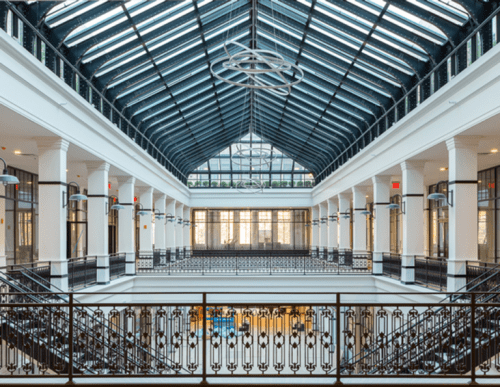 The Grand Court at Hahne & Co. and its skylight (L+M Development Partners)