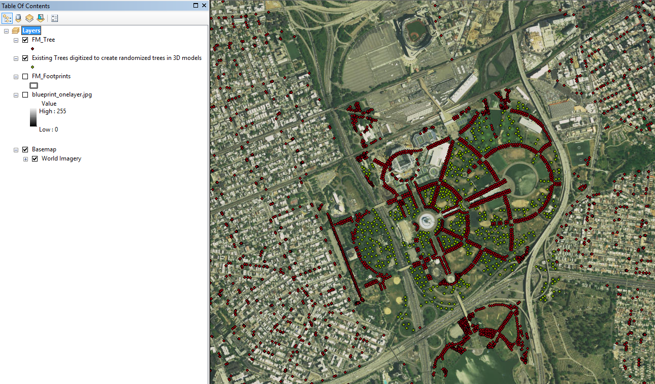 Screenshot of Dataset in ArcGIS. Dataset created by Geslin George and Xiao Shi.