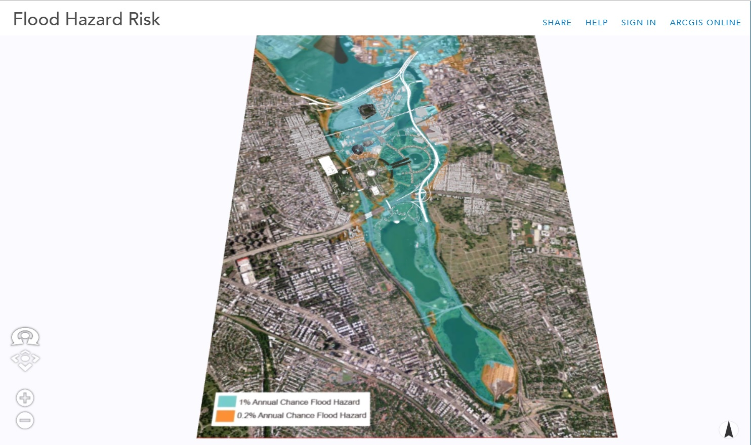This image shows Flood Hazard Risk overlaid on a 3D model and aerial of the site. Select image to view in CityEngine web viewer.
