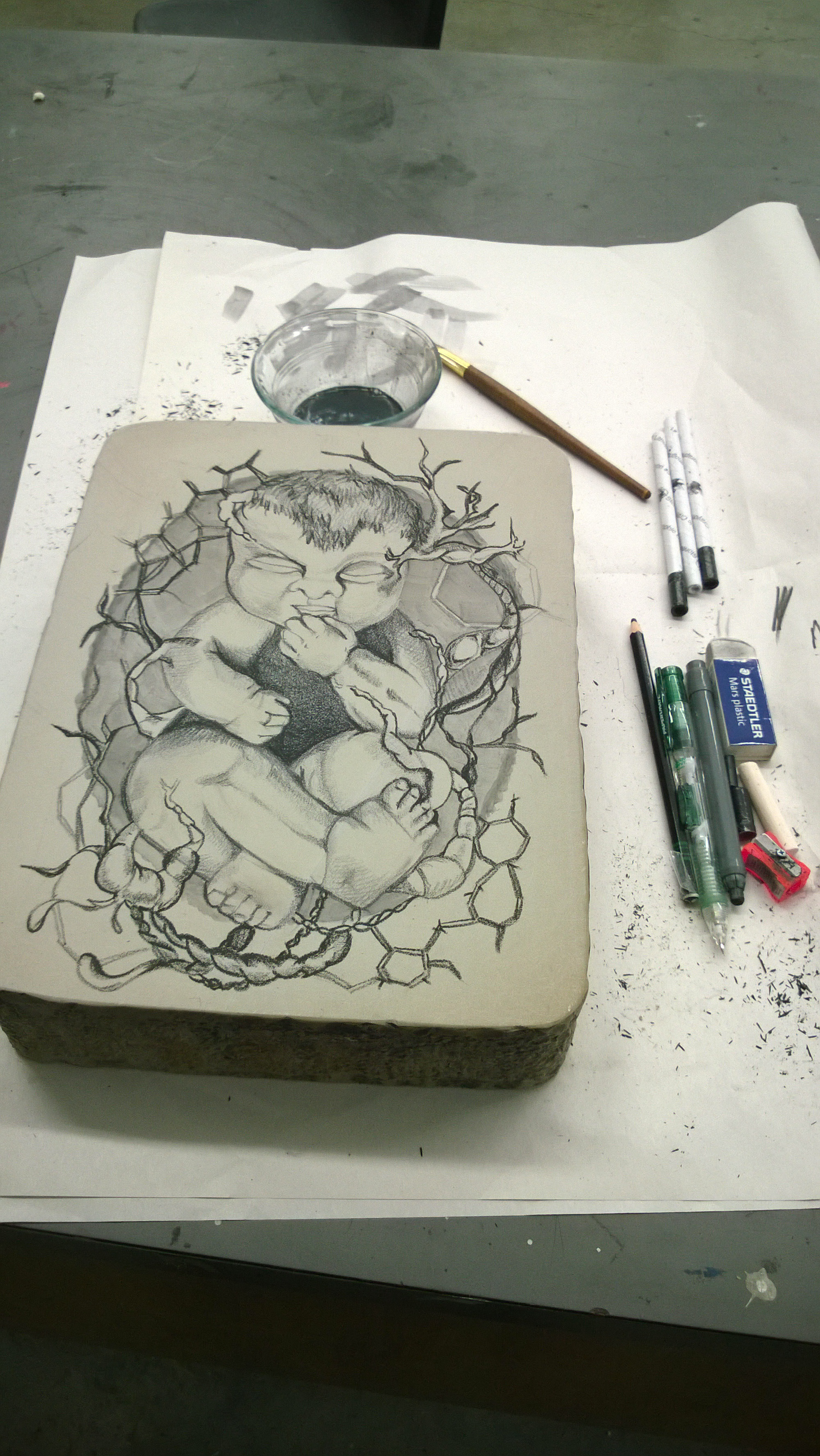 My first stone drawing! Just litho crayons and liquid tusch. Excited to print this vine baby.