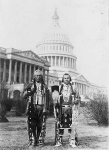 Frank Seelatse and Jimmy Noah Saluskin, leaders of the Yakama nation, pose in front of the Capitol, 1927. [Library of Congress]