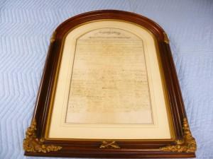 Framed copy of the 13th Amendment.