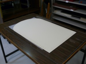 The back of the backing board.