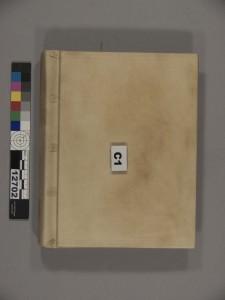 Galileo's Discorsi bound in Pergamena parchment.