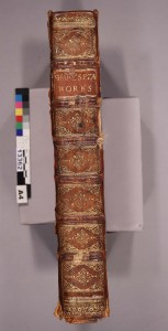 The spine of the Fourth Folio, before treatment.