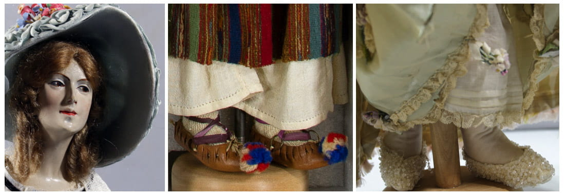 Some details showing the dolls head, handmade feet and shoes, and elaborate undergarments characteristic of the time represented.