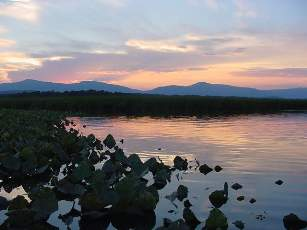 Sunset at Tivoli Bays with views of the Catskills