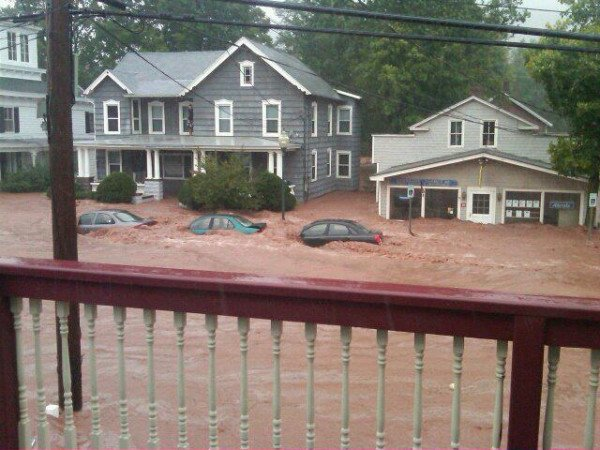 The Catskills region got hit exceptionally hard.  Here's Windham, NY