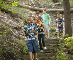 students on a Fall Creek Gorge hike