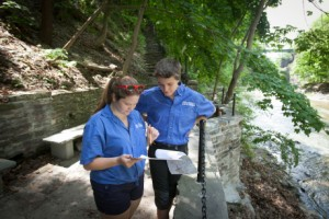 Gorge stewards Lisa Malloy '16, left, and Samantha Kochman '16 are here to greet and guide, inform and advise.