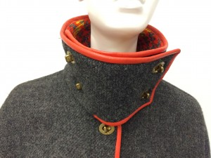 Collar and closure detail of a 1970 Bonnie Cashin coat