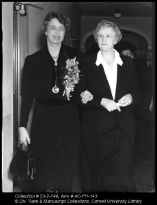 Eleanor Roosevelt and Flora Rose, co-founder of Cornell's College of Home Economics (now, College of Human Ecology), during Farm and Home Week in 1938.