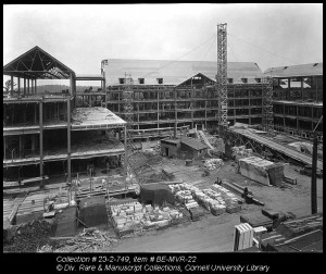 Construction of Martha Van Rensselaer Hall in 1932. According to Flora Rose, Eleanor Roosevelt convinced her husband to allocate the money needed to complete the building. (http://rmc.library.cornell.edu/homeEc/lg/F3_interview1Alt.htm)