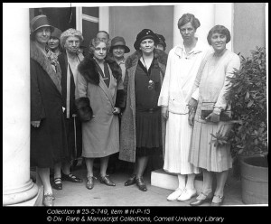 A meeting of the League of Women Voters at Eleanor Roosevelt's home in Hyde Park, New York, ca. 1919. Left to right: Mrs. Henry R. Hayes, Miss Martha Van Rensselaer, Mrs. Casper Whitney, general regional director of the League of Women Voters, Mrs. Samuel Bins, Mrs. Franklin D. Roosevelt, Mrs. Henry Goddard Leach, the State Chairman who presided at the meeting.