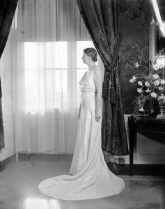 Official White House photograph of Eleanor Roosevelt in her 1937 inaugural gown, designed by Arnold Constable of New York. Roosevelt donated the gown to the Cornell Costume and Textile Collection (#915).