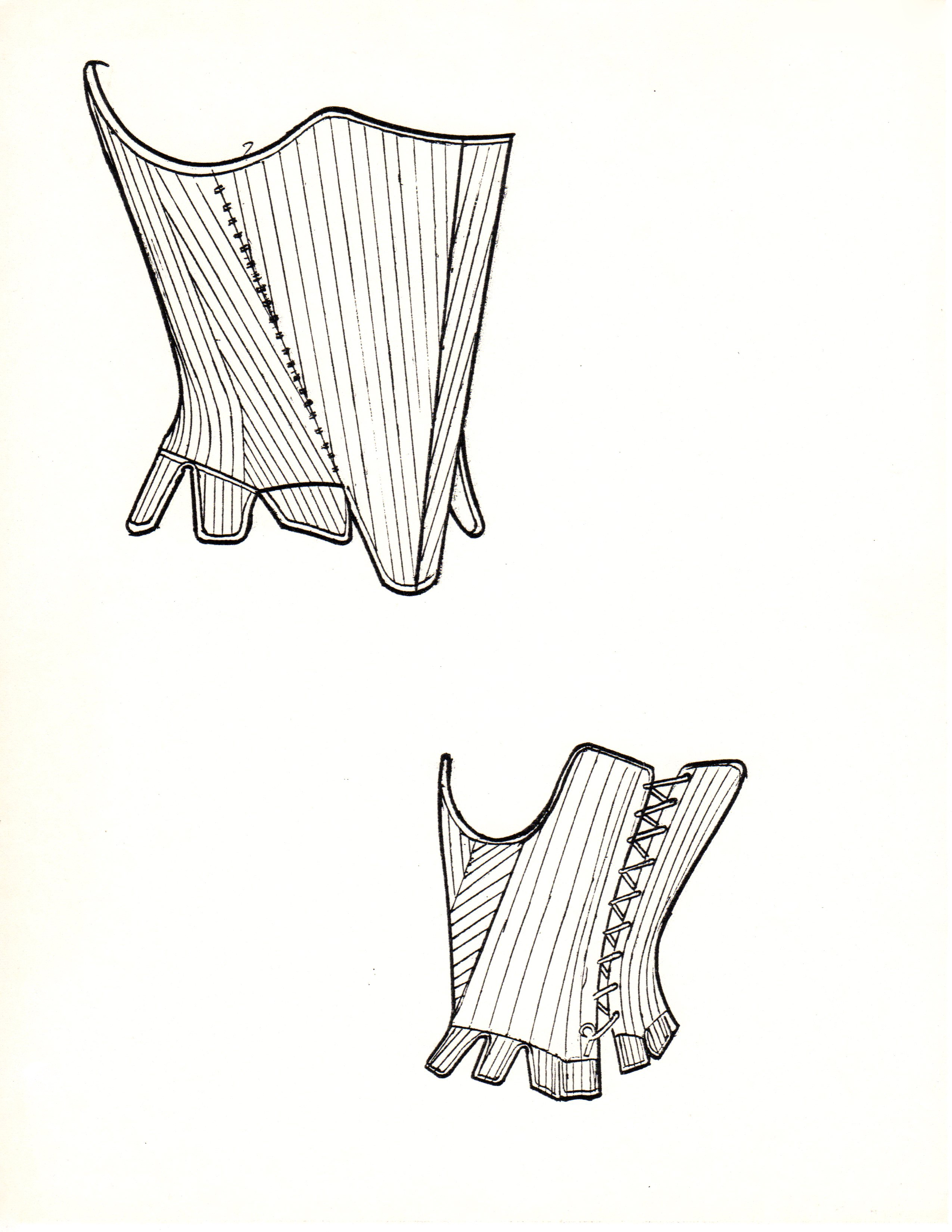 Technical sketch of front and back view of corset.