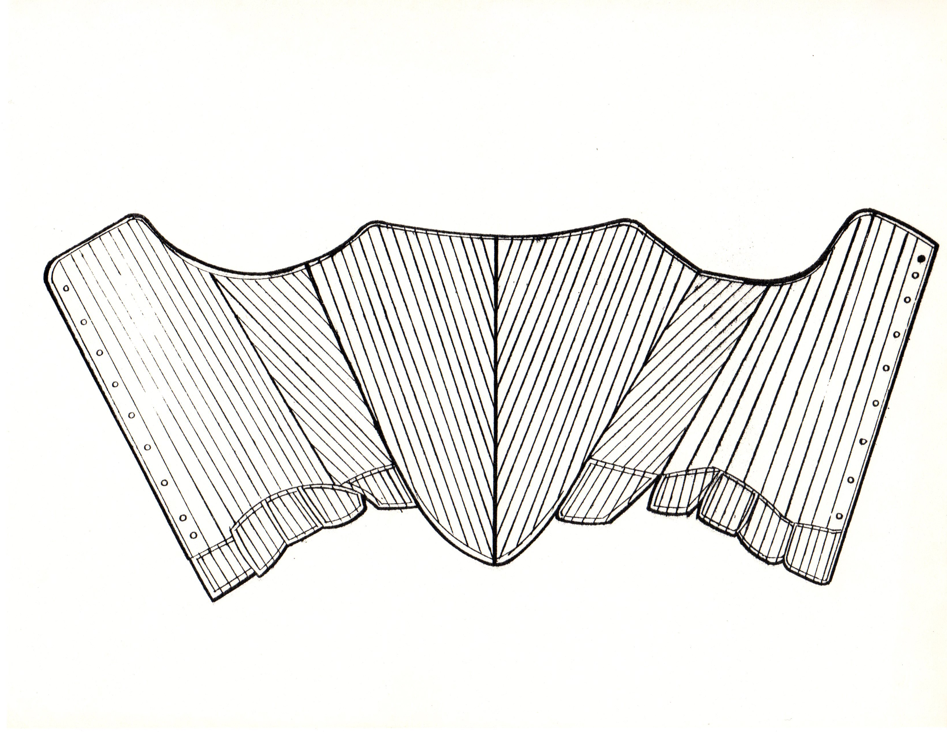 Technical sketch of the splayed corset.