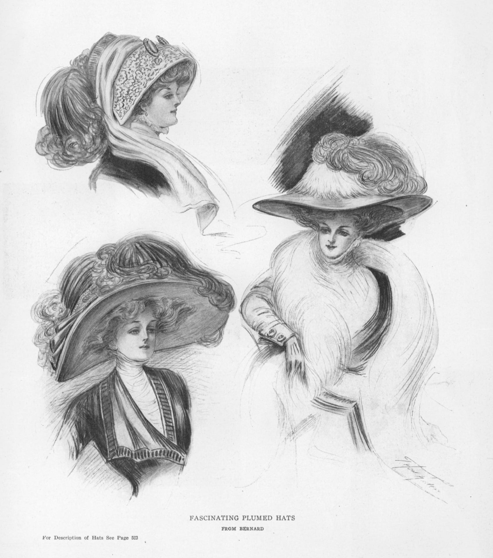 Advertisement for plumed hats by Bernard, October 1908. Published in Vogue, New York, Vol. 32, Issue 15 (Oct 8, 1908): 522.