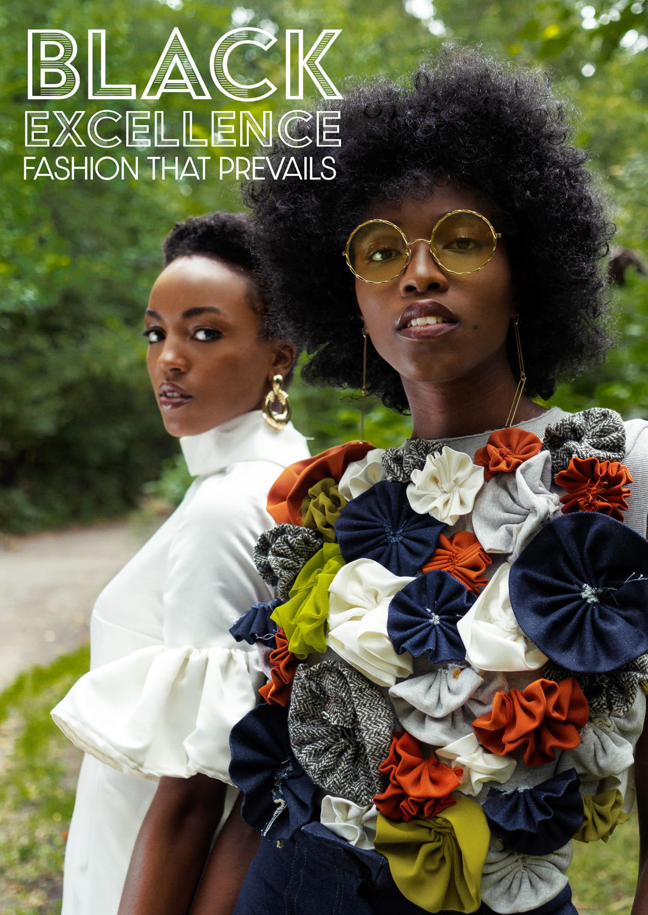 Two models in designs by Simone Sulllivan