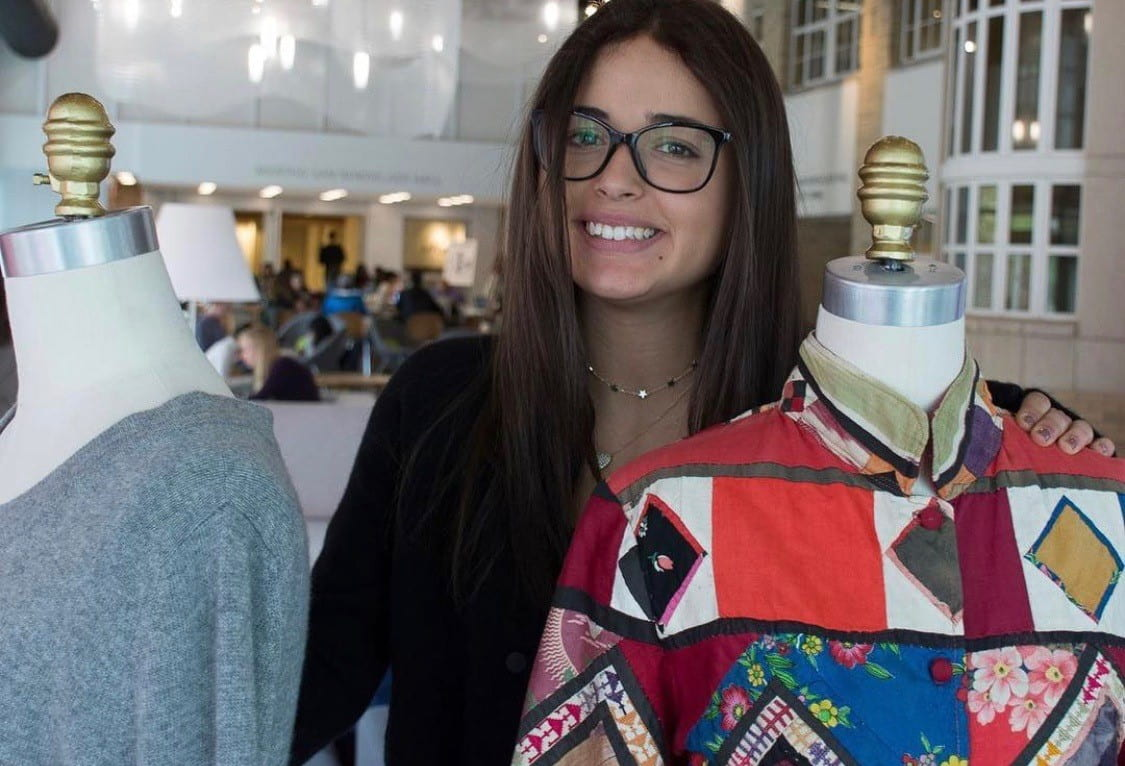 Allie Malakoff stands with patchwork dress form