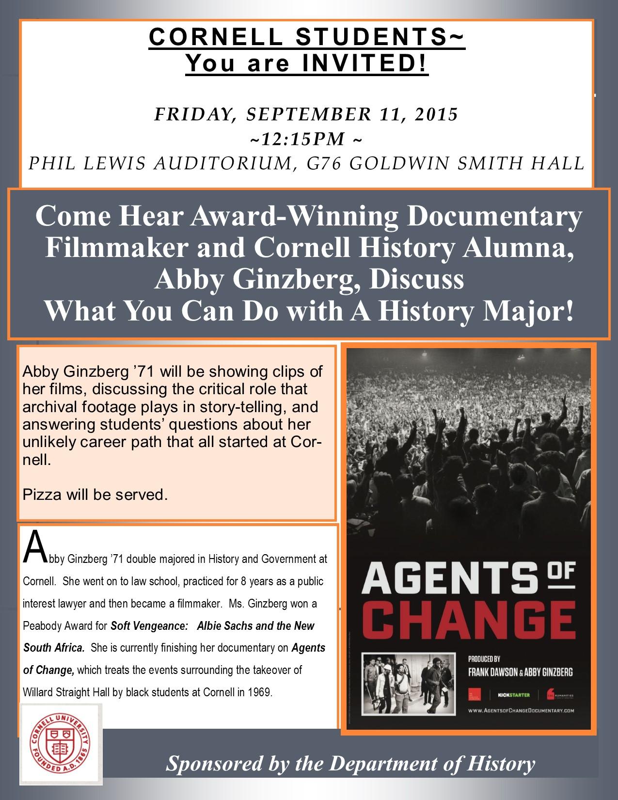 Sept 11 Abby Ginzberg to speak