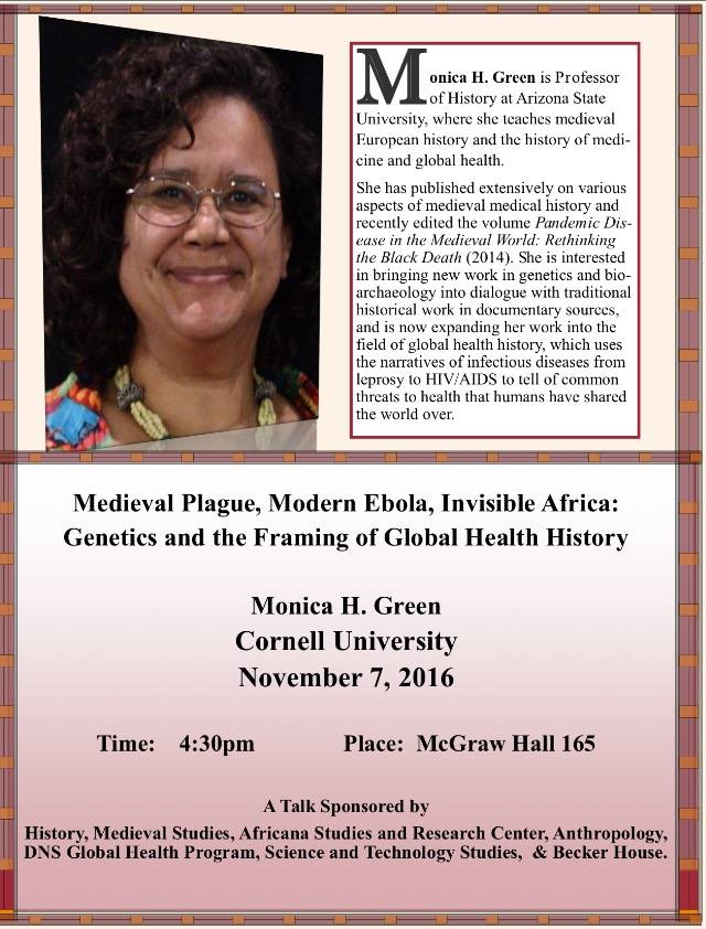 Monica Green to speak at Cornell Nov 7