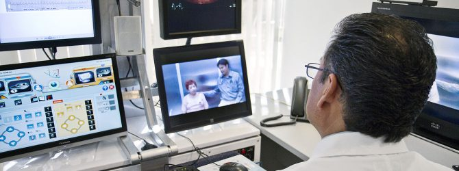a doctor does a telemedicine consult