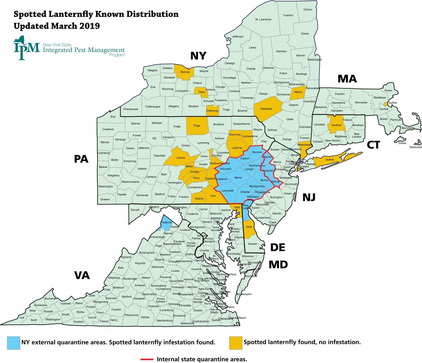Map of NY, MA, CT, PA, NJ, MD, DE and VA showing counties where spotted lanternfly infestations have been found as well as counties in which spotted lanternflies have been found, but where there is no infestation.