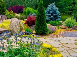 A stone path running through the APline Gardne full of color and texture