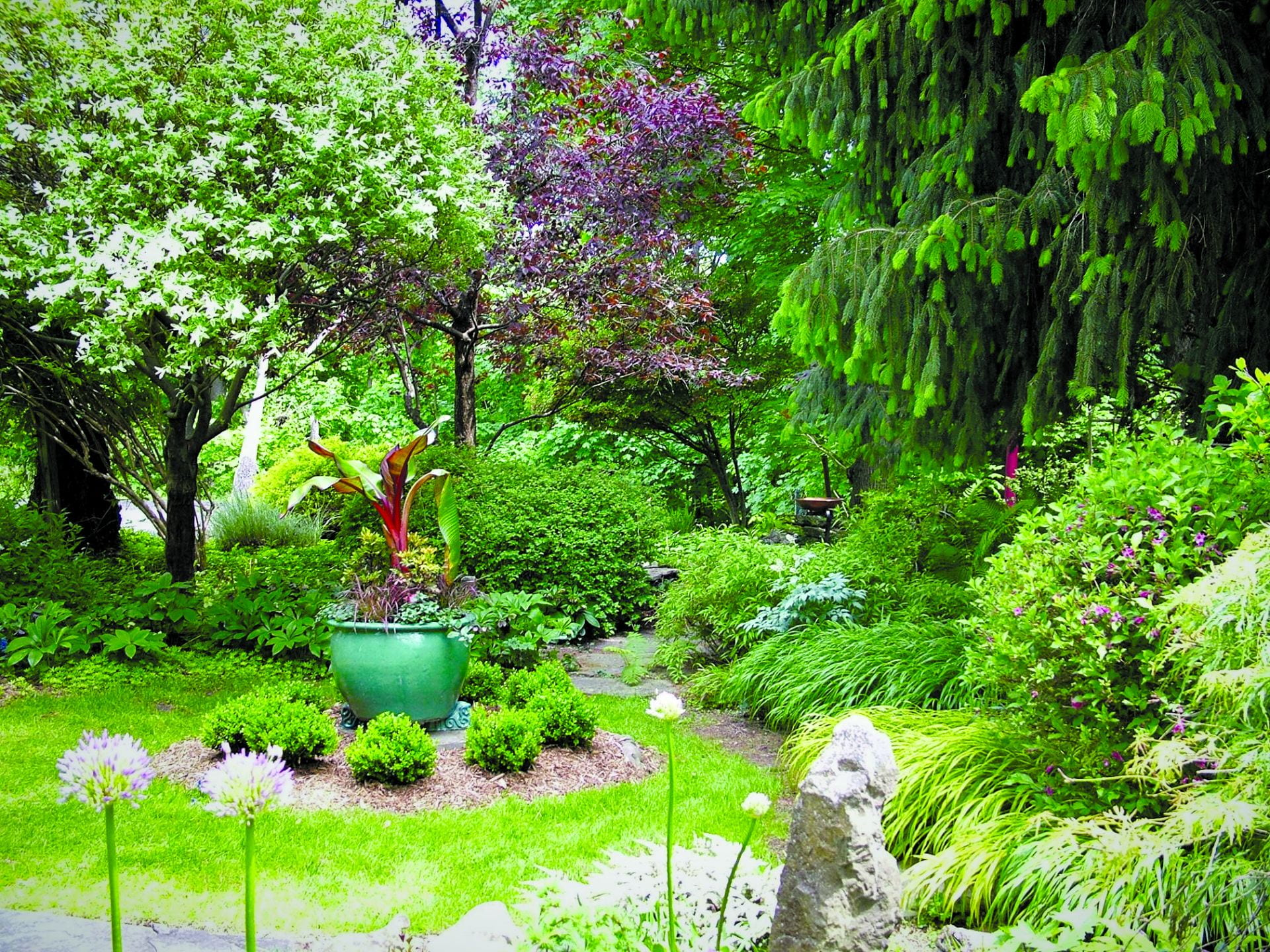 A beautifully green garden with trees in the background and a small grassy area with a large planter in the foreground