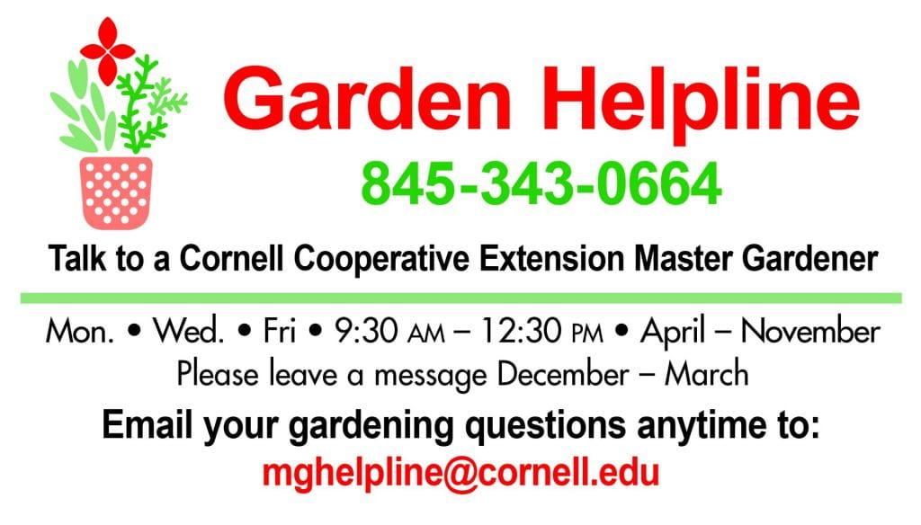 Garden Helpline Card (Information in text below image.)
