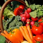 Basket over flowing with vegetables - tomatoes, carrots, peppers, broccoli