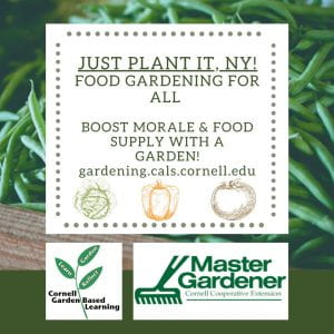 Just Plant It, NY! Food Gardeing for all. Boost Morale & Food Supply with a Garden! gardening.cals.cornell.edu / Cornell Garden Based Learning Logo / Master Gardener Cornell Cooperative Extesnion Logo