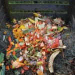 Pile of kitchen scraps, mostly peels of various fruits and vegetables, spead out on top of a compost pile