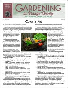 Front Page of Gardening in Orange County Newsletter