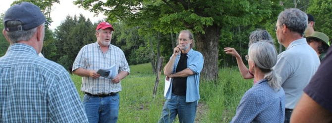 CCE educator and participants having discussion during a pasture walk event