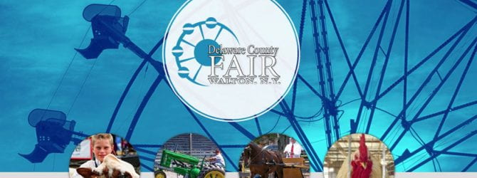 Delaware County Fair held in Walton NY. Screenshot of fair website home page that shows link for entries/rules, tickets, photos, contact us with Ferris wheel in background