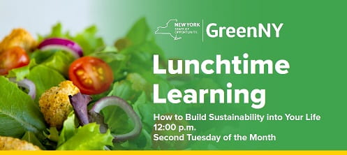 GreenNY presents Lunchtime Learning: How to build sustainability in your life. 12pm on the second Tuesday of each month.