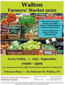 Walton 2020 Farmers' Market flyer
