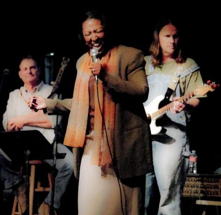Dawn Anthony singing with jazz trio