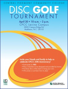 Free CPCC Disc Golf at CPCC's Levine Campus - Saturday, April 20, 2013