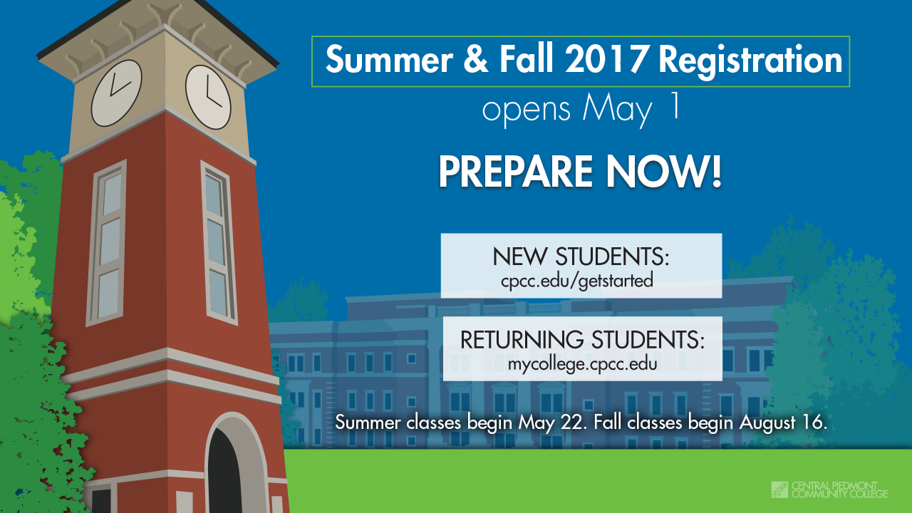 Summer and Fall 2017 Registration Opens May 1
