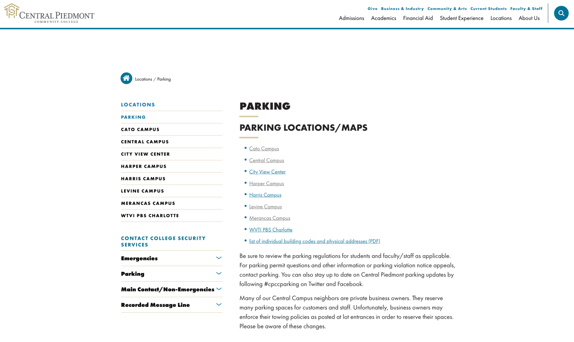 parking on campus web page
